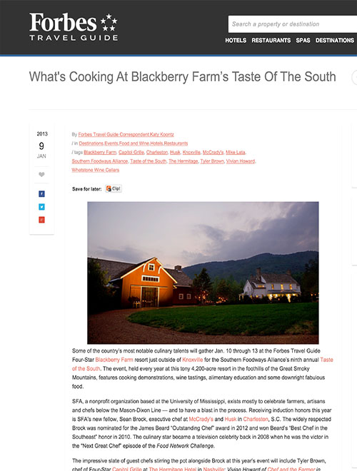 What's Cooking at Blackberry Farm's Taste of the South