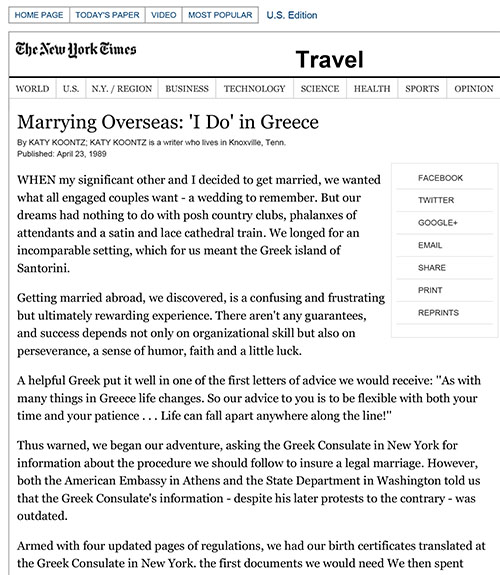 Marrying Overseas — 'I Do' in Greece