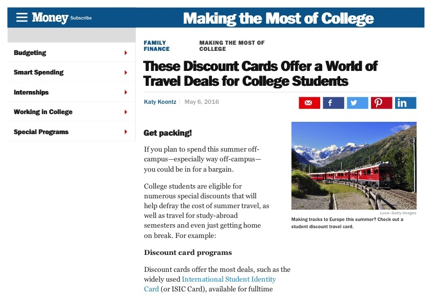 Student Travel Discount Cards